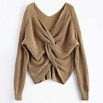 Sexy V Neck Twisted Back Sweater Women Jumpers Pullovers Long Sleeve Knitted Sweaters