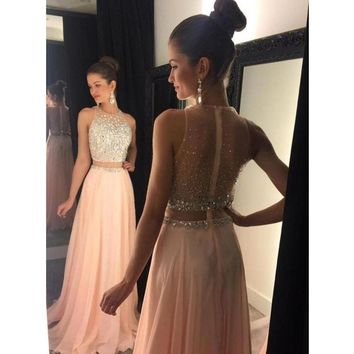 Fashion Blush Pink O Neck Beaded Bling Bling Sleeveless Two Pieces Prom Dresses