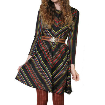 Cute 70s Chevron Dress - Abstract Print - Boho Bohemain - 70s Dress - 60s Dress - Long Sleeve Dress - Mod - Vintage Dress - Size Small