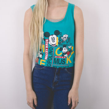 Vintage Mickey Mouse Teal Tank Top Shirt