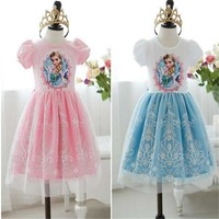 Baby Girls Summer Frozen Dress Girl's Cotton Princess Lace Dress Kids Party Dresses 35E