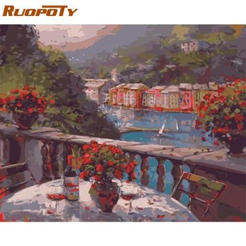 RUOPOTY Frame Gallery Flowers DIY Painting By Numbers Abstract Modern Wall Art Picture Landscape Oil Painting For Home Decor Art