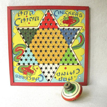 Vintage Chinese Checker Board by PassedBy on Etsy