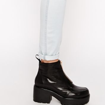 Vagabond Dioon Black Leather Zip Front Ankle Boots at asos.com