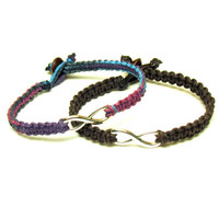 Purple Haze and Dark Brown Infinity Bracelets, Set of Two, Macrame Hemp Jewelry for Couples or Best Friends