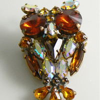 Czech Glass Rhinestone Owl Pin