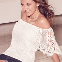 White Off Shoulder Scalloped Floral Lace Top