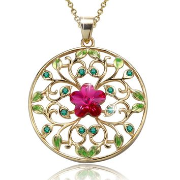 """Garden of Dreams"" Filigree Circle Pendant Necklace,Crystal from Swarovski,gifts for women birthday"