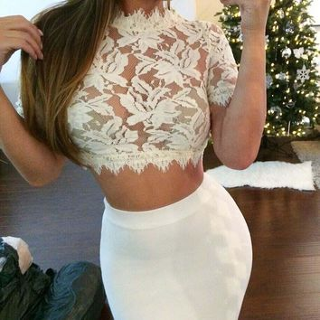 Fashion 2015 Sexy Crochet Lace Crop Top Women Short Sleeve Cropped Tank Sheer See Through Camisole Regata Feminina White Black