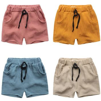 TTN 2017 summer boy shorts high quality boys shorts elastic band pure color neutral shorts loose breathable children's clothing
