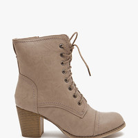 A'GACI Ariel Lace Up Combat Stack Heel Short Boot - New Arrivals
