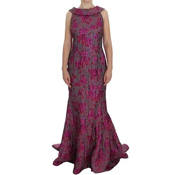 Dolce & Gabbana Pink Floral Brocade Sheath Gown Dress