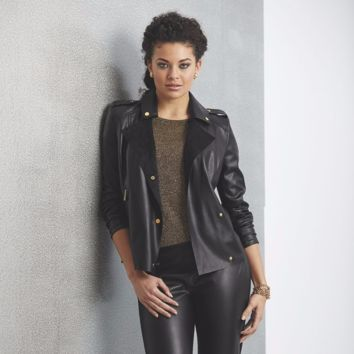 Ashro Misha Faux-Leather Moto Jacket 1X