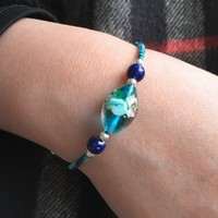 Blue Love Glass Bracelet | Valentines Day Gift | Glass String Bracelet | Love - Maharanees | Pinkoi