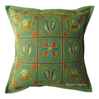 Brown India Elephant Peacock Hand Embroidered Toss Pillow Sham