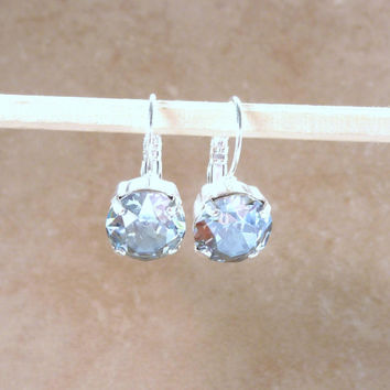 "Swarovski crystal earrings, ""Mystify"" collection, 11mm blue shade, lever backs, Sabika inspired earrings"