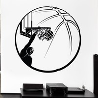 Vinyl Decal Basketball Wall Sticker Sport Decor Ball Slam Dunk Boys Room Decor Unique Gift (ig635)
