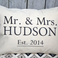 Cotton anniversary, Personalized Mr. & Mrs. pillow, silver anniversary, wedding gift, name pillow, newlywed pillow, 2nd Anniversary -Hudson-