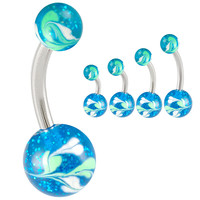 Glitter Ball End Belly Button Ring [Gauge: 14G - 1.6mm] 316L Surgical Steel (Blue) & Acrylic For Girls  (Various Lengths)  (BHPG31)