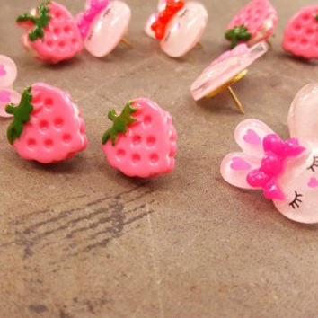 Pushpins Decorative Push Pins Bunny Strawberry Fancy Tacks