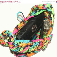 Holiday Special Crochet Handbag Clutch Purse Multi Color Neon Ready to Ship