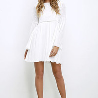 Sight to Behold Ivory Embroidered Long Sleeve Dress