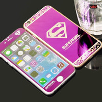 Hot Superman Supergirl Front+Back Mirror Tempered Glass film Protector case for Iphone 6 6S 5 5S 6Plus 6S Plus