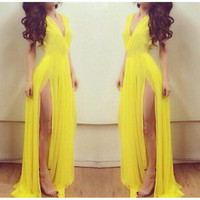 Yellow V-Neck Sleeveless Maxi Hem Dress