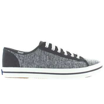 CREYONIG Keds Kickstart - Charcoal Quilted Jersey Lace-Up Sneaker