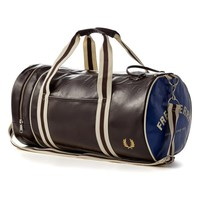 Fred Perry Classic Barrel Bag, Chocolate Brown and Blue