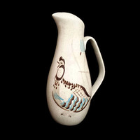 Red Wing Bob White Water Pitcher Speckled Brown Turquoise Quail