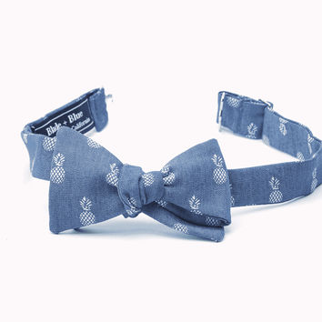 Denim Pineapple Print Bow Tie