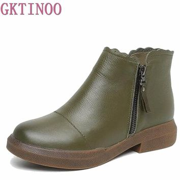 New women Genuine Leather Boots Vintage Style Flat Booties Soft Cowhide Women's Shoes side Zip Ankle Boots zapatos mujer T1084