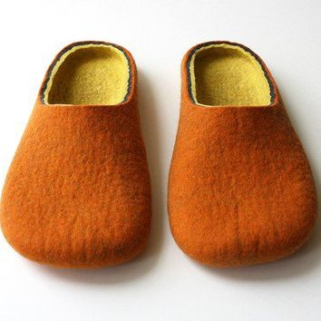 Mulberry  / Orange Felted slippers Handmade to Order