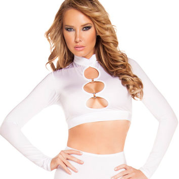White Long Sleeve Cutout Top