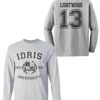 Lightwood 13 Idris University Longsleeve Men Sport Grey Tshirt tee