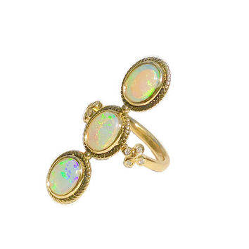 Opal ring/ Opal and Diamond ring /Opal Mermaid ring/Opal Cocktail Ring/ One-of-a-Kind/ Opal ring with Antique Victorian Flair/ Handmade.