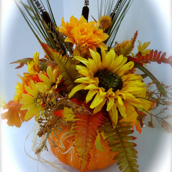 Fall Floral Pumpkin Arrangement, Sunflower Centerpiece
