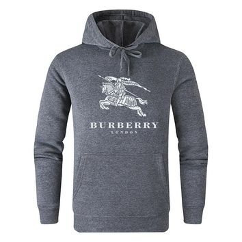 Burberry 2019 new classic horse print round neck hooded sweater Dark grey