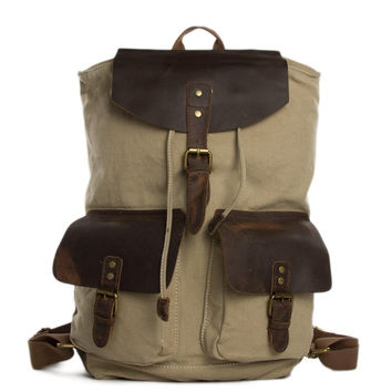 Adelaide – Leather & Waxed Canvas Backpack