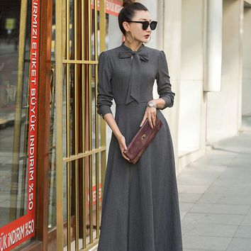 VERRAGEE vintage new long full-sleeve bow design formal solid color floor-length gentle maxi dress