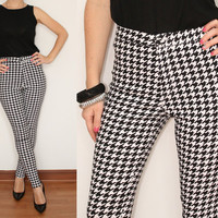 Black and White Skinny Pants High waisted pants Houndstooth for Women