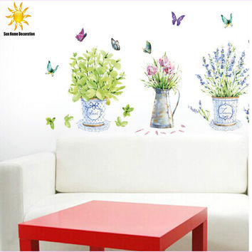 DIY wall stickers home decor potted flower pot butterfly kitchen window glass bathroom decals waterproof  SM6