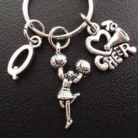 Cheering on your favorite cheerleader keyring, keychain, bag charm, purse charm, monogram personalized custom gifts item No.293