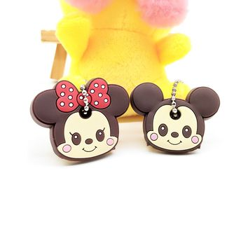 2 PCS Cartoon Anime Cute Key Cover mickey stitch Bear Keychain Silicone Hello Kitty super hero porte clef cap minne key protect