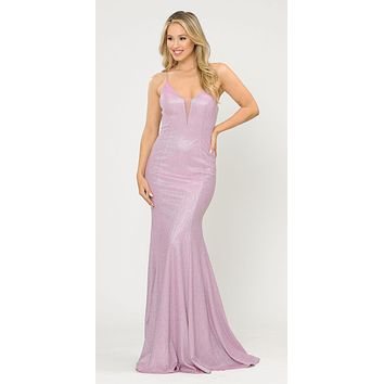Pink/Lilac Mermaid Style Long Prom Dress with Spaghetti Straps