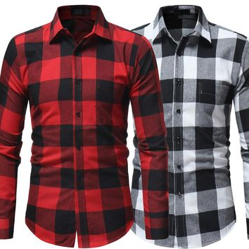 Men Plaid Shirt 2018 Korean Long Sleeve Shirt Casual Flannel Men Tops