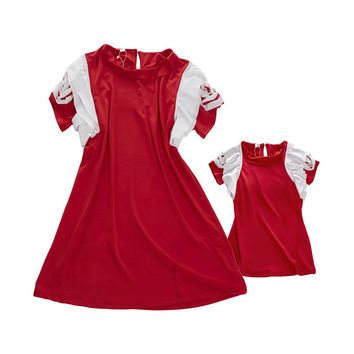 New Summer Family Look Matching clothing Mother Daughter Girl Clothes Outfits Mom And Daughter Dress red Petal Sleeve Dresses