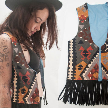 Tribal Indian Patterned Fringe Vest | Kilim Native American Neutral Tones with Black Suede Fringe | 80s 90s Boho Vest Hippie Belly Dance 70s