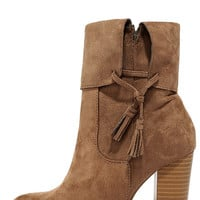 All on the Line Taupe Suede High Heel Booties